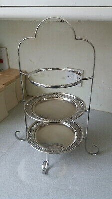 Lovely Vintage Three Tier Silver Plated Cake Stand - And Two Plates 18 X 9 Inch