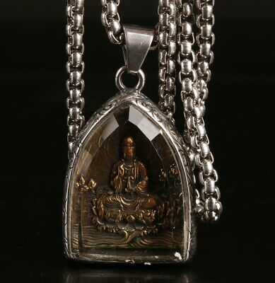 China Titanium Steel Bronze Handmade Carving Buddha Necklace Jewelry Gift