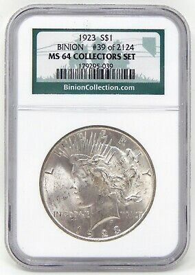 1923 $1 Peace Silver Dollar Ted Binion Hoard Coin NGC MS64 A8147
