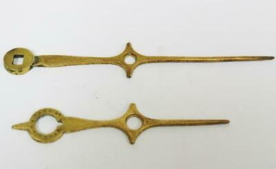 Antique Pair Of Victorian English Brass Grandfather Longcase Hands