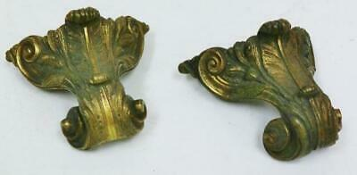 Pair Antique Late 17thC - Early 18thC Bronze Corner Verge Bracket Clock Feet