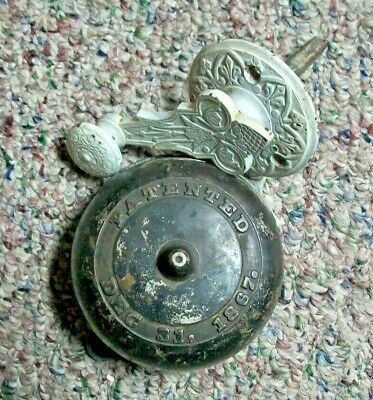 Antique 1867 Rotary Crank Brass Door Bell Doorbell With Original Ornate Crank