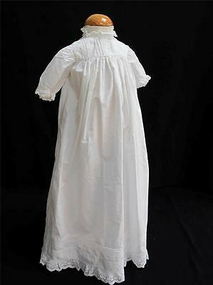 Antique Baby Dress Victorian Embroidered Whitework White Cotton Lace Gown c1890