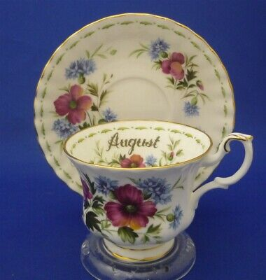 Royal Albert England Bone China August Poppy Flower Of Month Tea Cup & Saucer
