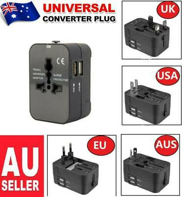 2X Universal Charger World Travel Adapter 2 USB Power Plug Converter Socket