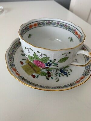 Herend Indian Basket Multicolor  Cup and Saucer 724 As Is #2