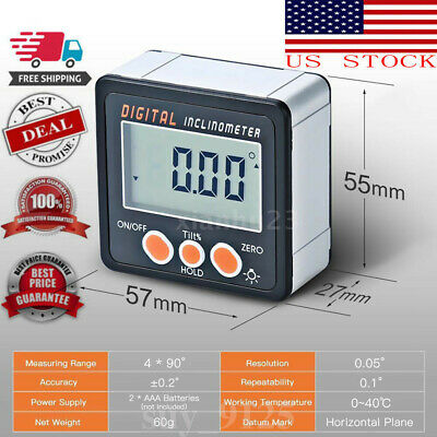 Digital Inclinometer Protractor Bevel Angle Gauge Magnet Base 4*90° Easy To Use