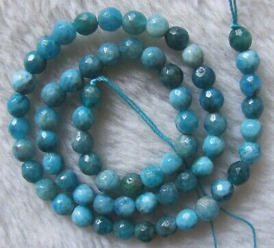 6mm 8mm 10mm Natural Blue Apatite Faceted Round Loose Beads 15""