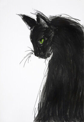 Black Cat Charcoal * Quality Canvas Art Print
