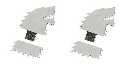 Game of Thrones 2 BFF Lot Set 4GB USB Flash Drive House Stark Sigil Direwolf HBO