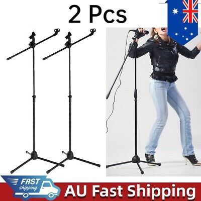 2PC/Set Telescopic Boom Microphone Stand Adjustable Mic Holder Tripod 2 Clips AU