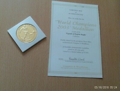Jonny Wilkinson England Rugby 22ct Medallion/coin/token COA 2003 RUGBY WORLD CUP