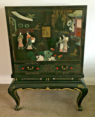 Vintage Chinese Oriental Cabinet On Stand Carved Stone Hand Painted Decoration