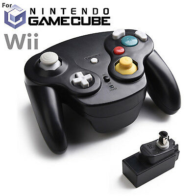 BLACK Wireless Gamecube Controller With Adapter for Retro Classic Wii GC NGC US