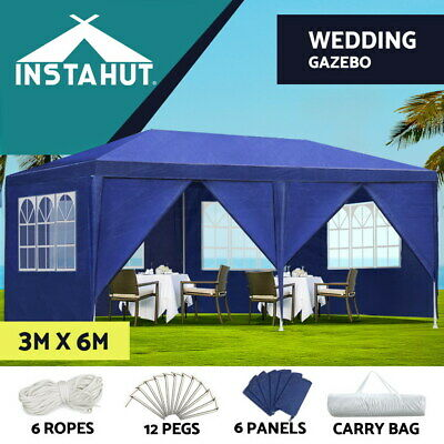 Instahut Gazebo 3x6 Outdoor Gazebos Party Wedding Marquee Tent Camping Blue