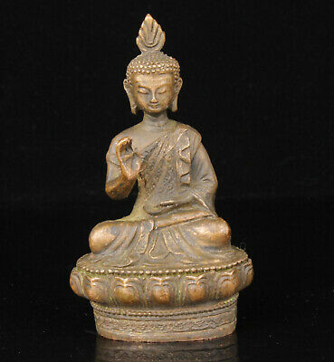 China Old Collectible Hand-Carved Buddhism Red Copper Spiritual Buddha Statue