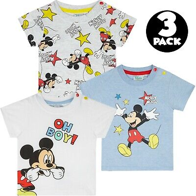 Disney Mickey Mouse Baby Boys T-Shirts Tops Gift Multi Set 3-PACK Cotton 0-24 M