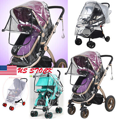 US Quality Universal Buggy Pushchair Stroller Pram Transparent Rain Cover Baby