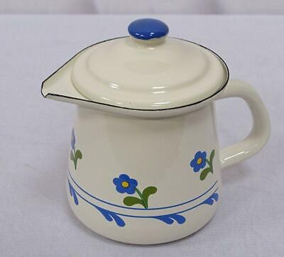 G1691: Cream Jug with Lid, Milk Jug, Enamel, Cream Flowers
