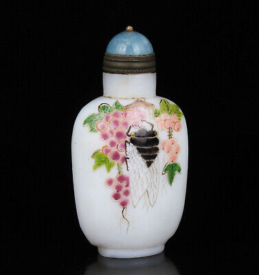 China Collectible Handwork Colored Drawing Cicada Beijing Glass Snuff Bottle