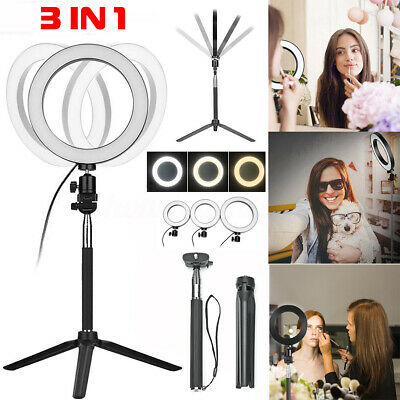 6.5'' Dimmable 5500K LED Selfie Makeup Ring Flash Fill Light Tripod Stand Camera