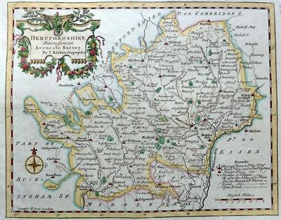 HERTFORDSHIRE  BY THOMAS KITCHIN GENUINE ANTIQUE COPPER ENGRAVED MAP  c1769
