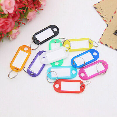 Plastic Key Rings Assorted Keychains Tags Split ID Label Language Name Card New