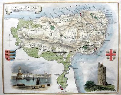 KENT ISLE OF THANET BY THOMAS MOULE GENUINE ANTIQUE MAP WITH HAND COLOUR  c1840