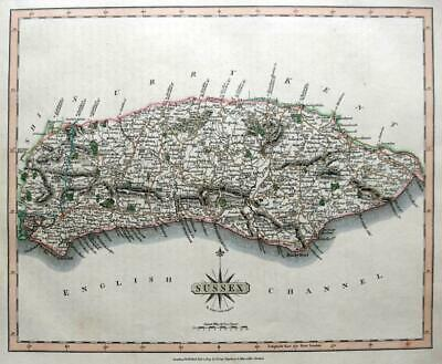 SUSSEX BRIGHTON CHICHESTER   BY JOHN CARY GENUINE ANTIQUE ENGRAVED  MAP  c1809
