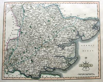 ESSEX CHELMSFORD COLCHESTER  BY JOHN CARY GENUINE ANTIQUE ENGRAVED  MAP  c1809