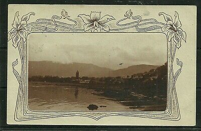 Postcard : Isle of Arran Lamlash, with art nouveau frame, posted 1904