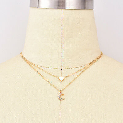 62c64c46d53 Necklace Gold Double Layer Love Heart Moon Jewelry Female Gifts Pendant XS