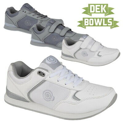 Dek Unisex Lace Up Coated Leather Official Original Bowling Shoes Grey Leather