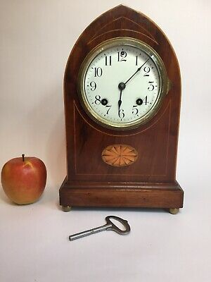 Antique Mantel Clock Sheraton Revival Inlaid Ansonia Chiming Clock Working C1900