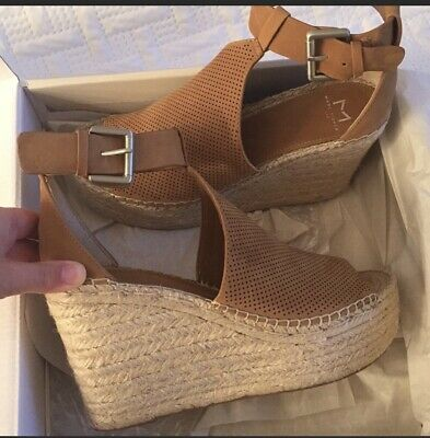 58b9250401 MARC FISHER LTD Perforated ADALYN WEDGE SANDAL GRAY SUEDE SIZE 6 ...