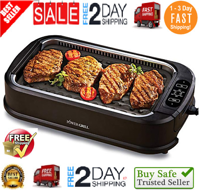 Smokeless Indoor Electric Grill POWER 1200 Watts XL Non-Stick BBQ AS SEEN ON TV