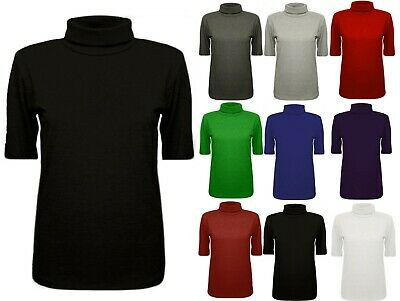 Womens Ladies Jersey Plain Lightweight Polo Turtle Neck Stretch 3/4 Sleeve Top
