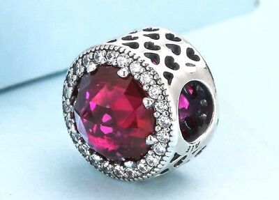 Authentic Pandora Silver Charm Bead Red Radiant Hearts Cerise Crystal 791725 #4b