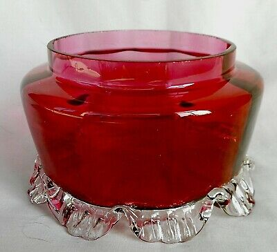 Vintage Cranberry Glass Vase With Ornate Clear Glass Bottom Rim - Hand Blown