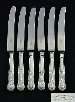 """6 Heavy Vintage Cooper Bros Silver Plated Kings Pattern 9.5"""" Table Dinner Knives"""