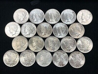 Lot of 20 1923 U.S Silver Peace Dollar Uncirculated/Bu Lustrous Nice Lot *Q2-1