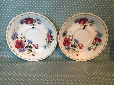 Pair of vintage Royal Albert China - Flower of the month - August Poppy saucers.