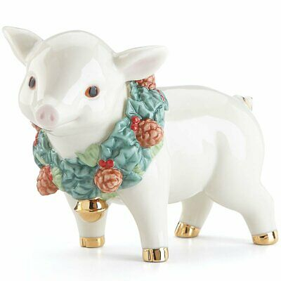 Lenox Holiday Wreath Pig Christmas Figurine New in Box