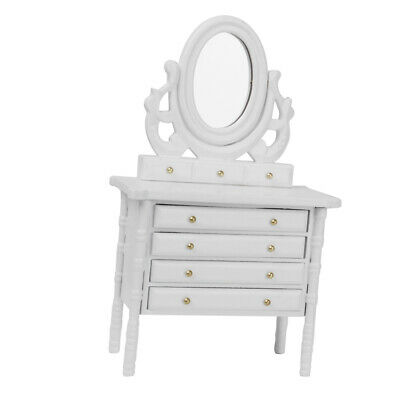 Dollhouse Miniature 1:12 Scale Bedroom Furniture White Wooden Dressing Table