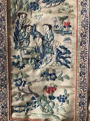 Old  Vintage CHINESE Silk Hand Embroidery Sleeve Panel of Chinese Court Ladies.