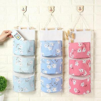 3 Layer Floral Wall Closet Hanging Storage Organizer Bag Toys Container Pouch HZ
