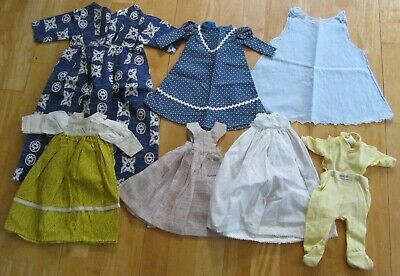 Antique/Vtg Lot Of Doll Clothing~Varied Sizes/Styles~Nice Cloche Hat/Bonnet~LOOK