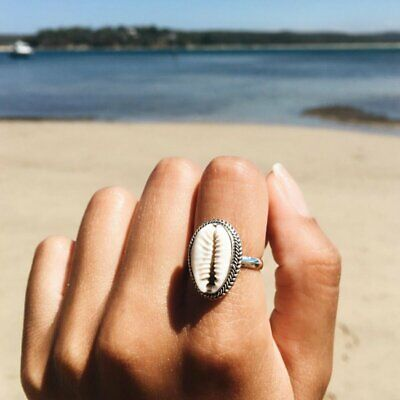 456c1cbc5efa5 BOHO NATURE COWRIE Shell Ring Handmade Silver Band Ring Jewelry Gift ...
