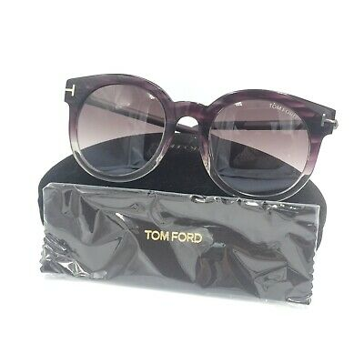9038507f09eb8 Tom Ford Janina TF435 83T Round Purple Gray Sunglasses W  Violet Gradient  Lens 5