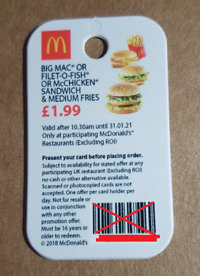McDonalds Keyfob Loyally Card £1.99 Offer | Expiry 31/01/21